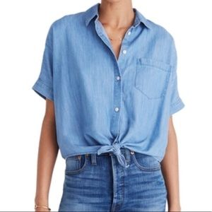 MADEWELL Chambray Tie front Top